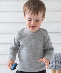 baby longsleeve grijs, baby shirt lange mouw, baby shirt grijs