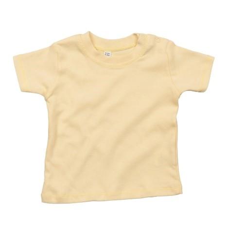 baby t-shirt bedrukt, baby shirt korte mouw, baby shirt licht geel