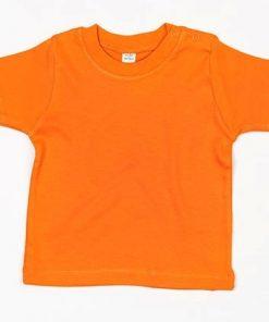 baby t-shirt bedrukt, baby shirt korte mouw, baby shirt oranje