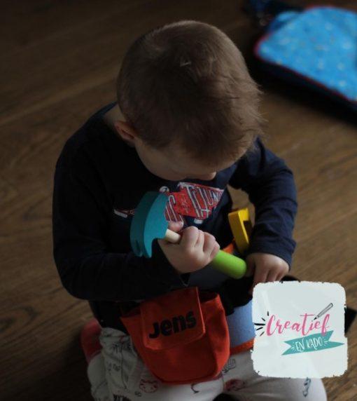 gereedschapsriem met naam, houten speelgoed, Jens