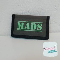 portemonnee met naam, portemonnee groen, Mads