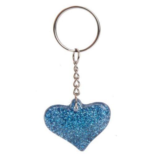 sleutelhanger glitter hart, meiden traktatie, glitter traktatie, glitter hart blauw