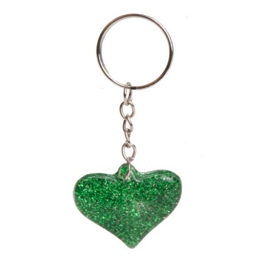 sleutelhanger glitter hart, meiden traktatie, glitter traktatie, glitter hart groen