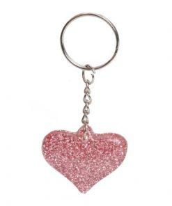 sleutelhanger glitter hart roze, meiden traktatie, glitter traktatie, glitter hart roze