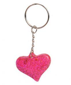 sleutelhanger glitter hart, meiden traktatie, glitter traktatie