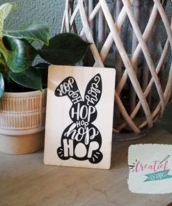 houten kaart hop hop, houten kaart paas thema, pasen wenskaart