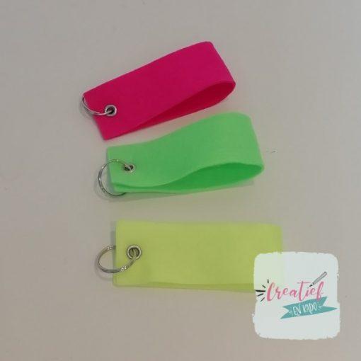 sleutelhanger vilt neon geel, neon groen, neon roze, sleutelhanger fluor
