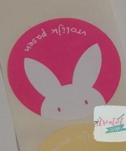 Ronde sticker vrolijk Pasen, sluitzegel vrolijk Pasen