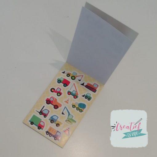 stickerboekje voertuigen, auto stickers, voertuigen traktatie