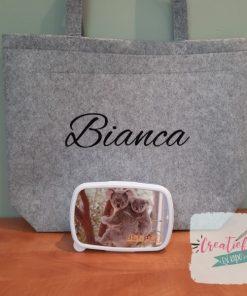 vilten shopper met naam, vilten shopper bedrukt, Bianca