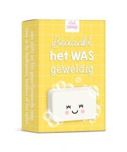 zeep bedankt het was geweldig, cadeau afscheid, zeep geel doosje, studio schatkist