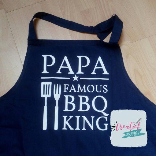 keukenschort navy, keukenschort papa bbq king