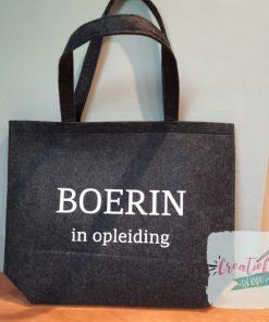 vilten shopper bedrukt, shopper boerin in opleiding