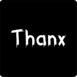 sticker thanx, sluitzegel thanks, sticker bedanken