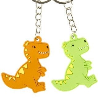 dino sleutelhanger, groene dino sleutelhanger, oranje dino sleutelhanger, jongens traktatie