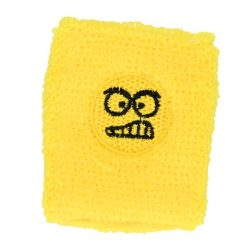 zweetbandje funny face geel