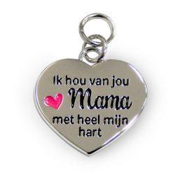 charm for you mama, bedeltje mama, hartje met tekst mama, ik hou van jou mama met heel mijn hart