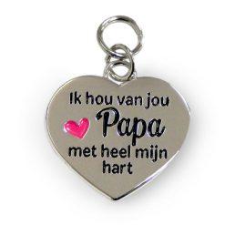 charm for you papa, bedel papa, cadeau papa, cadeau vaderdag, ik hou van jou papa met heel mijn hart
