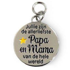 charm for you papa en mama, bedeltje papa en mama, cadeau moederdag, cadeau vaderdag, jullie zijn de allerliefste papa en mama van de hele wereld