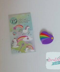 eenhoorn stickerboekje hart traktatie, hartjes gum, unicorn traktatie