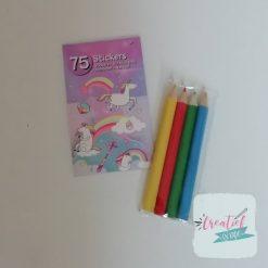 eenhoorn stickerboekje potloodjes traktatie, meiden traktatie, unicorn traktatie