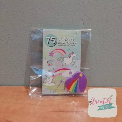 eenhoorn stickerboekje traktatie, unicorn traktatie, meisjes traktatie