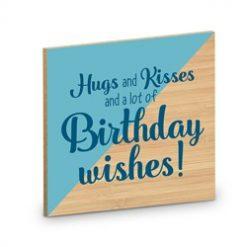 houten onderzetter, verjaardag onderzetter, houten verjaardagscadeau, hugs and kisses and a lot of birthday wishes