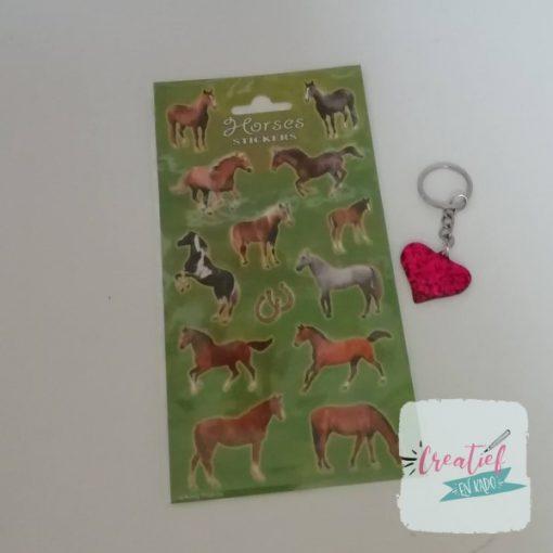 paarden stickervel hartje traktatie, paarden traktatie, meiden traktatie, dieren traktatie