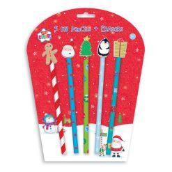 potlood met gum topper kerstmis, kerst potlood, kerst traktatie,