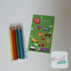 voertuigen stickerboekje potloodjes traktatie, auto traktatie jongens traktatie