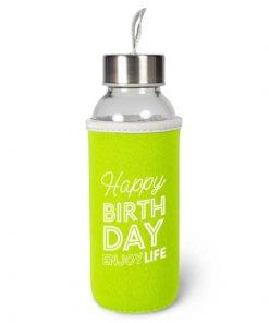 waterfles happy birthday, cadeau verjaardag, duurzame waterfles,