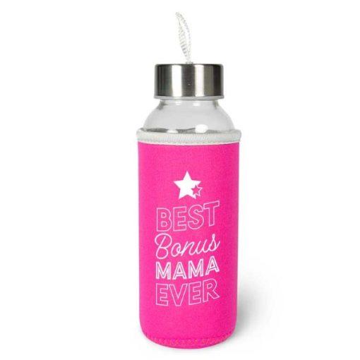 waterfles bonusmama, best bonus mama ever, cadeau moederdag, duurzame waterfles