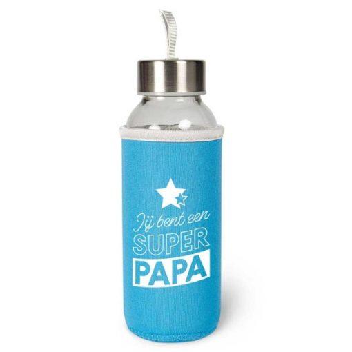 waterfles papa, waterfles super papa, cadeau vaderdag, duurzame waterfles
