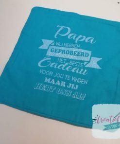 kussenhoes beste cadeau papa, kussenhoes blauw bedrukt, cadeau papa