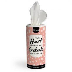 tissue dispenser geluk, mijn hart giechelt van geluk als ik jou zie