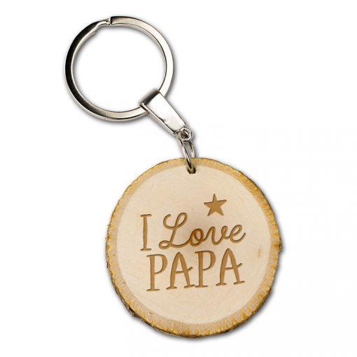 boomschijf sleutelhanger I love papa