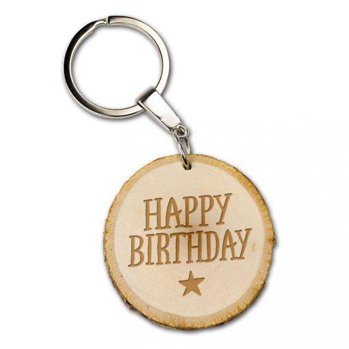 boomschijf sleutelhanger happy birthday, cadeau verjaardag, verjaardag man, verjaardag vrouw