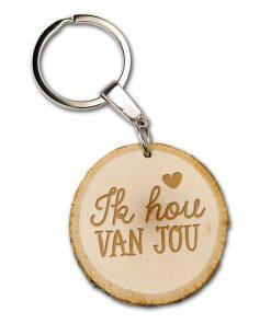 bbomschijf sleutelhanger ik hou van jou, liefde, valentijnsdag