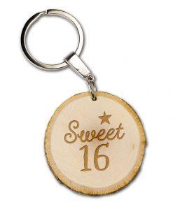 boomschijf sleutelhanger sweet 16, sleutelhanger verjaardag, cadeau verjaardag, 16 jaar