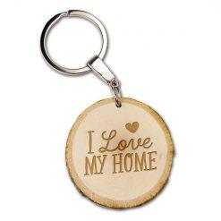 boomschijf sleutelhanger i love my home, cadeau nieuwe woning, cadeau verhuist, house warming