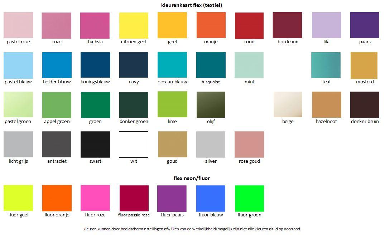 kleuren kaart flex folie, kleurenkaart textielfolie