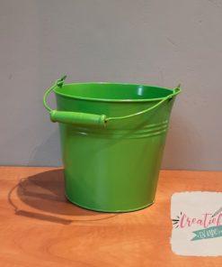 zinken emmer groen, cadeau emmer, metalen emmer