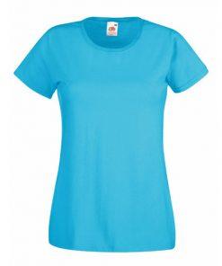 dames t-shirt bedrukt, t-shirt laten bedrukken, shirt met tekst, t-shirt azure blauw, F288N
