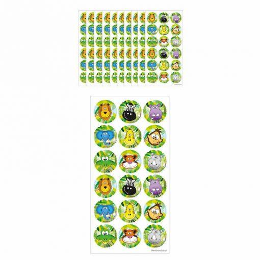 fun stickervel jungle, dieren stickers, jungle traktatie, dieren traktatie