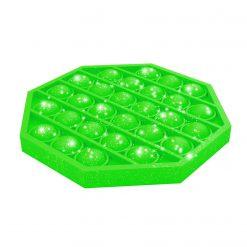 bubble pop-it groen glitter, fidget bubble pops groen 8-hoek