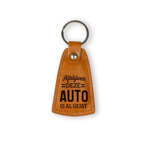 leren sleutelhanger afblijven, leren sleutelhanger auto, afblijven deze auto is al gejat, cadeau man