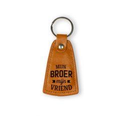 sleutelhanger broer, cadeau broer, leren sleutelhanger, cadeau man
