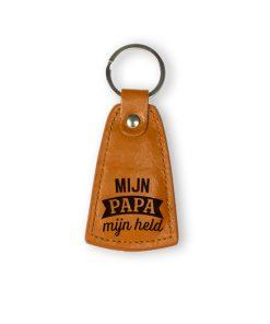 leren sleutelhanger papa, mijn papa mijn held, cadeau papa, cadeau vaderdag, cadeau man