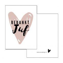 mini kaartje bedankt juf roze hart