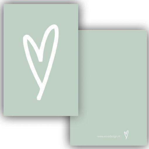 mini kaartje hart groen